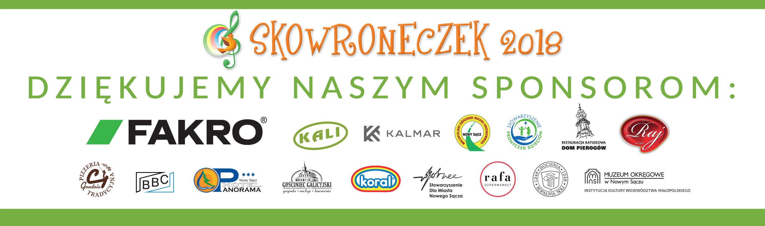 Podziękowania dla sponsorów Skowron18